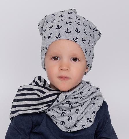 Детская шапочка бини с принтом Якоря