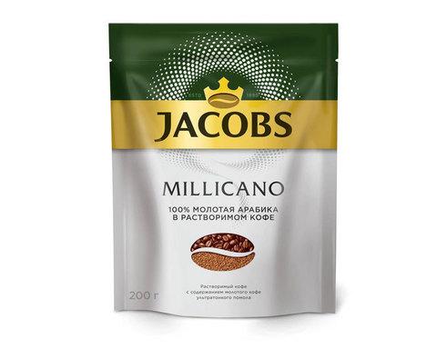 купить Кофе растворимый Jacobs Monarch Millicano с молотым кофе, 200 г пакет
