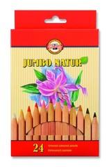 Карандаши цветные неокрашенный корпус jumbo NATUR 2174, 24 цвета