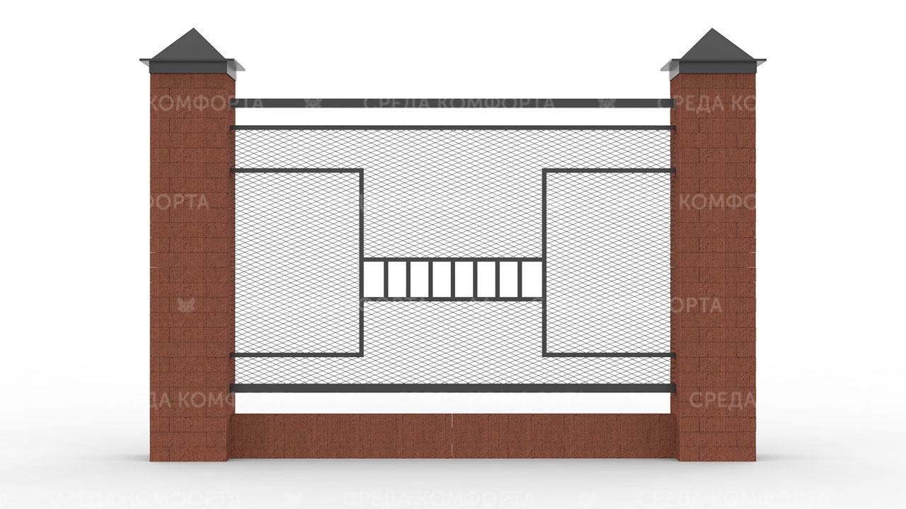 Забор из сетки рабицы ZBR0193