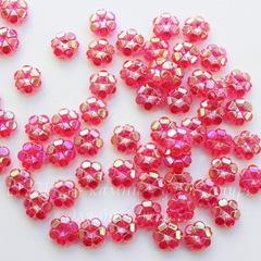 Бусина акриловая Цветочек розовый с AB покрытием 10х4 мм, 10 штук