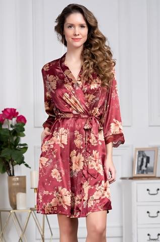 Короткий халат из шелка Mia Amore Burgundia (70% нат.шелк)