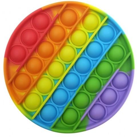 Игрушка антистресс круглая Вечная пупырка Pop, радужная