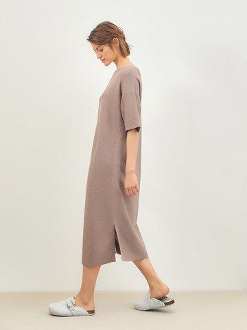 Женское платье темно-кофейного цвета из вискозы - фото 4