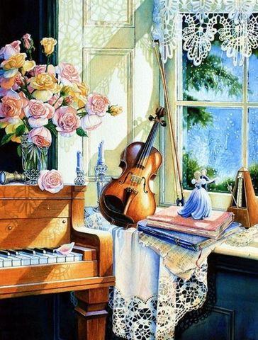 Картина раскраска по номерам 50x65 Скрипка и пианино у окна