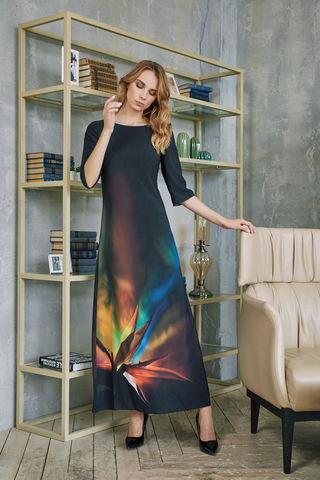 Фото платье макси с мягким цветовым градиентом и ярким принтом - Платье З420-124 (1)