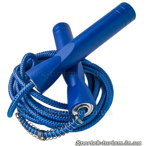 Скакалка детская с пластиковыми ручками и защитной пружинкой