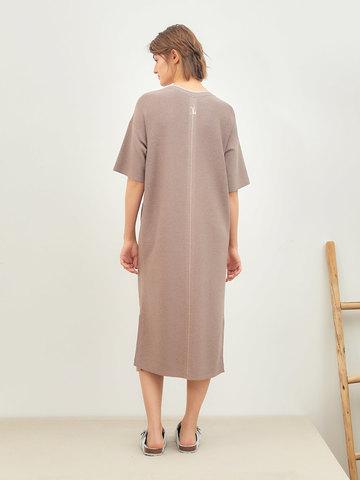 Женское платье темно-кофейного цвета из вискозы - фото 3