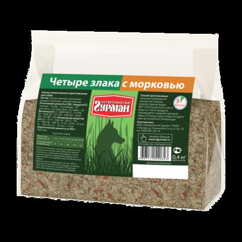 Четвероногий Гурман Каша для собак 4 злака с морковью (пакет)
