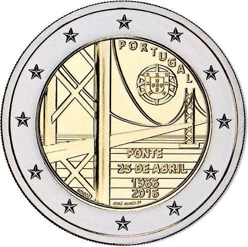 2 евро 2016 Португалия - 50 лет мосту 25 Апреля