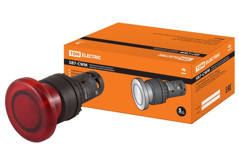 Кнопка грибовидная SB7-CWM42-220V(LED) d35мм 1р красная TDM