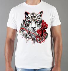 Футболка с принтом Тигр (Tiger) белая 0055