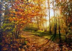 Картина раскраска по номерам 50x65 Осенний лес на рассвете