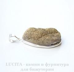 Подвеска Кварц в рамке (цвет - античное серебро) 43х27х13,5 мм №27