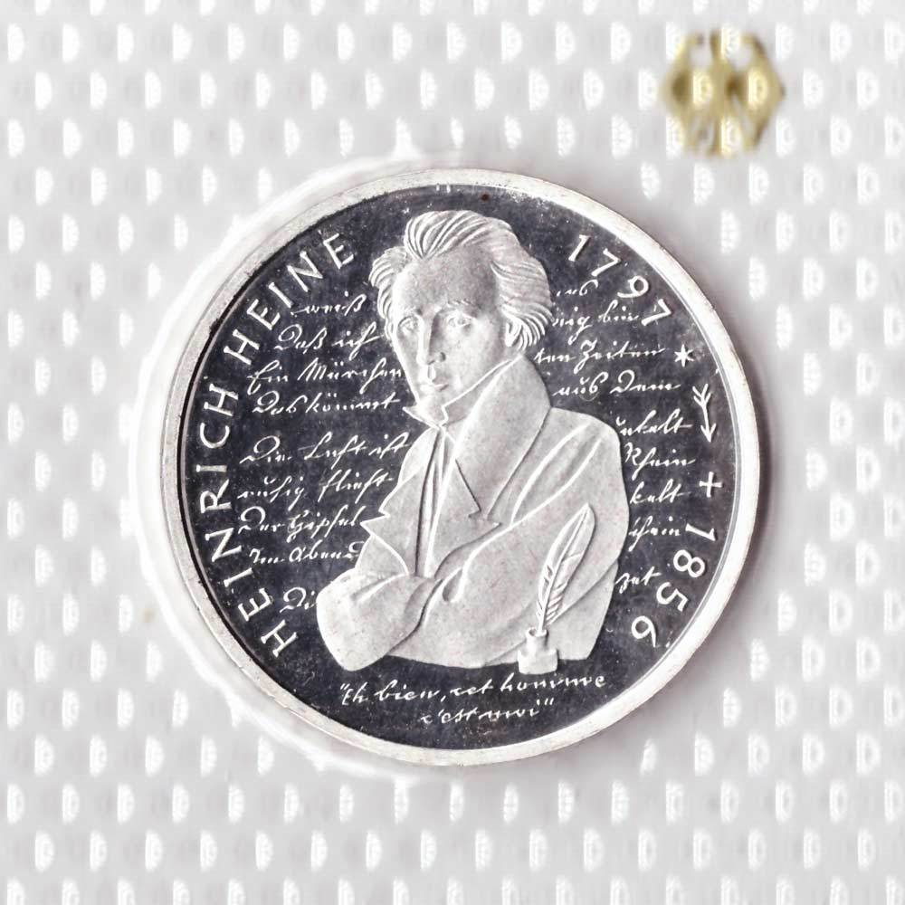 10 марок 1997 год (J) 200 лет со дня рождения Генриха Гейне, Германия. PROOF в родной запайке