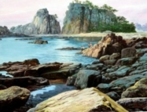 Картина раскраска по номерам 50x65 Вид на море с каменистого берега