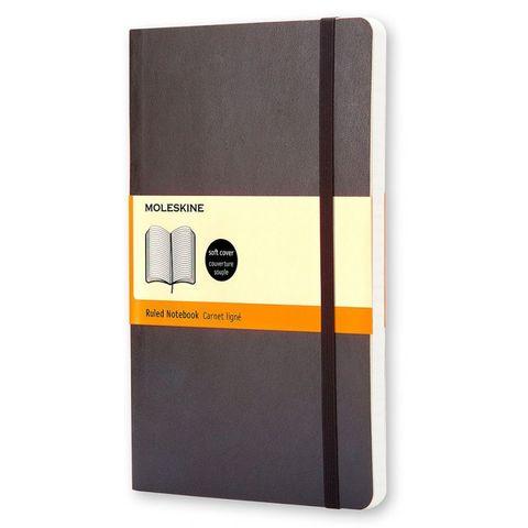 Блокнот Moleskine CLASSIC SOFT QP616 Large 130х210мм 192стр. линейка мягкая обложка черный