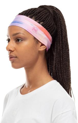 Узкая спортивная повязка на голову Buff Headband Slim CoolNet Ne10 Pale Pink фото 2