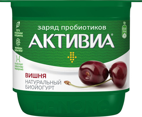 """Биойогурт """"Активиа"""" Вишня 150г"""
