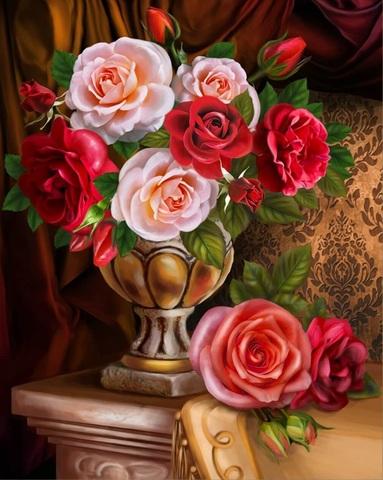 Алмазная Мозаика 40x50 Розы в вазе (арт. SGA2470 )