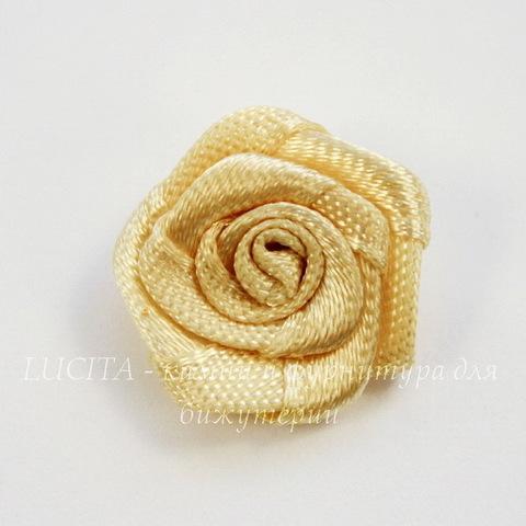 Роза атласная бежевая 15 мм, 5 штук