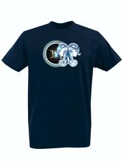 Футболка с принтом Знаки Зодиака, Близнецы (Гороскоп, horoscope) темно-синяя 004