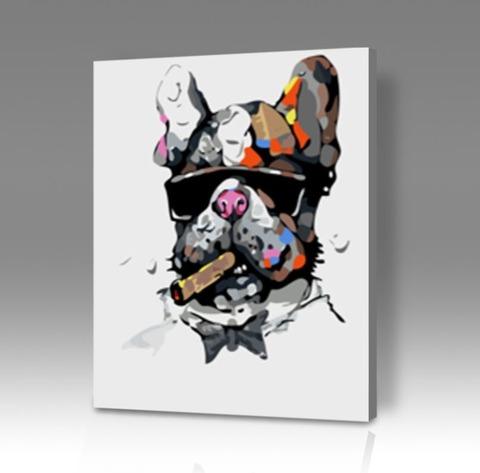 Картина по номерам на холсте Собака с сигарой, 40см*50см