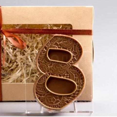 Пластиковая форма для шоколада жен. ВОСЬМЕРКА с текстурой КРУЖЕВО 90х65мм
