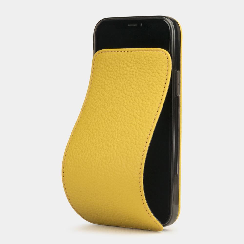 Чехол для iPhone 12 Mini из натуральной кожи теленка, желтого цвета