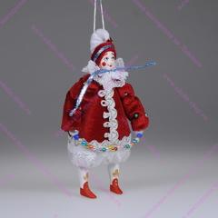 Ёлочная игрушка Клоун новогодний бархатный