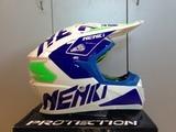 Шлем для мотокросса NENKI NK-316, белый-синий-зелёный