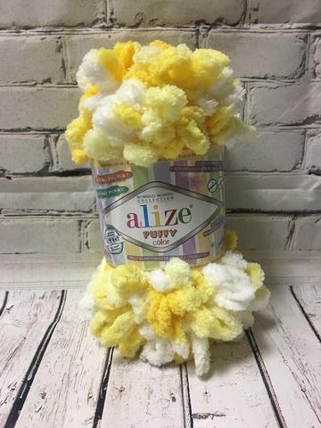Пряжа ALIZE PUFFY COLOR №5921 желтый-белый