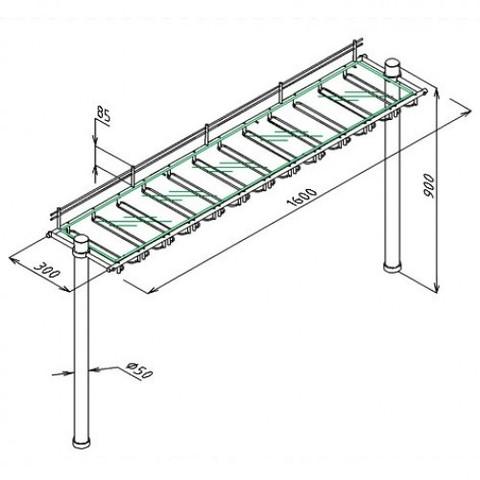 РБМК-1600 стекло, рама с бокалодержателями на колоннах