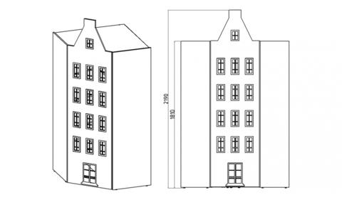 Угловой шкаф домик Амстердам -3 (Н)