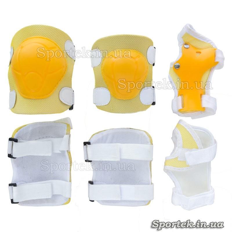 Защита желтого цвета на резинках с липучками для катания детей на велосипедах, роликах, скейтбордах