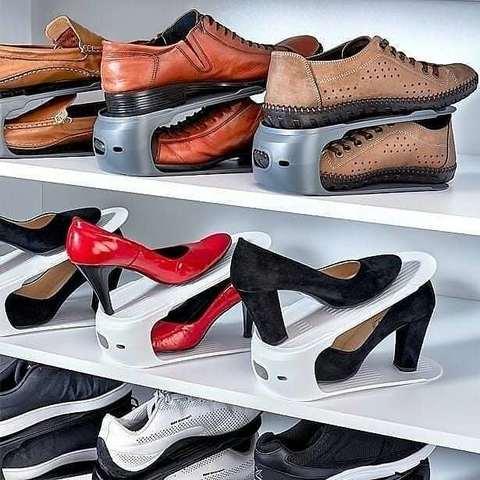Пластиковая подставка для компактного хранения обуви