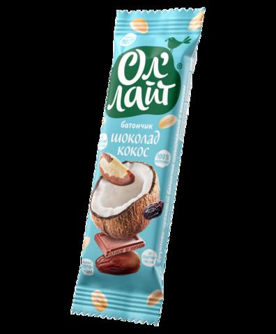 Ол`лайт Батончик фруктово-ореховый шоколадный с кокосом, 30г