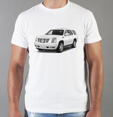Футболка с принтом Кадиллак (Cadillac) белая 006