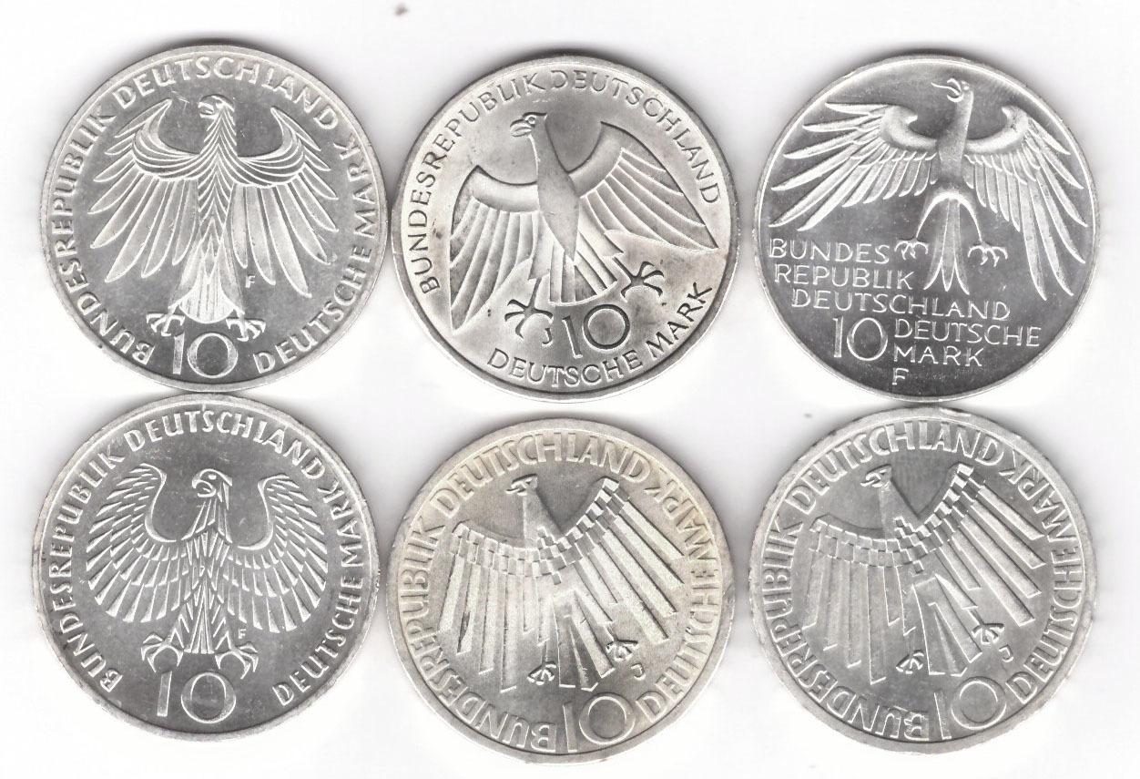 Набор из 6 монет 10 марок. Германия. XX летние Олимпийские игры в Мюнхене. 1972 год. XF-AU