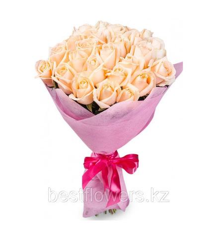 Букет из 21 кремовой розы (местные)