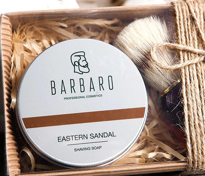 RAZ1015-1 Подарочный набор с мылом для бритья «Barbaro Eastern sandal» и помазком из кабана. фото 02