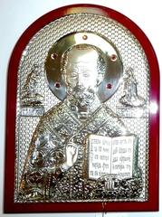 Серебряная инкрустированная гранатами икона святителя Николая Чудотворца (Угодника) 20х14,5см в подарочной коробке