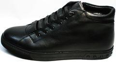 Зимние черные кеды мужские кожаные Ridge 6051 X-16Black