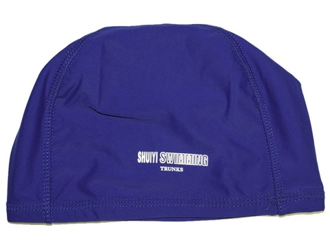 Шапочка для плавания тканевая. Безразмерная, взрослая. Вставка эргономично придает форму шапочке. Сочетание полиамида и эластомера делает ткань эластичной и прочной одновременно. Полиэтиленовая упаковка. AL-1117-ц  (Светло-синий)