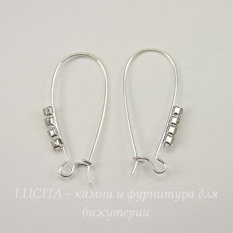 Швензы - петли длинные со стразами, 33-34х16 мм (цвет - серебро), пара