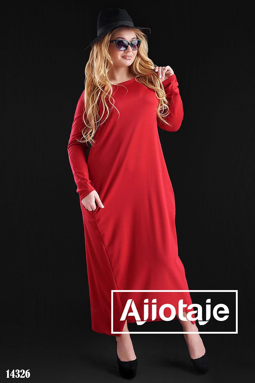 Красное платье макси с асимметрией