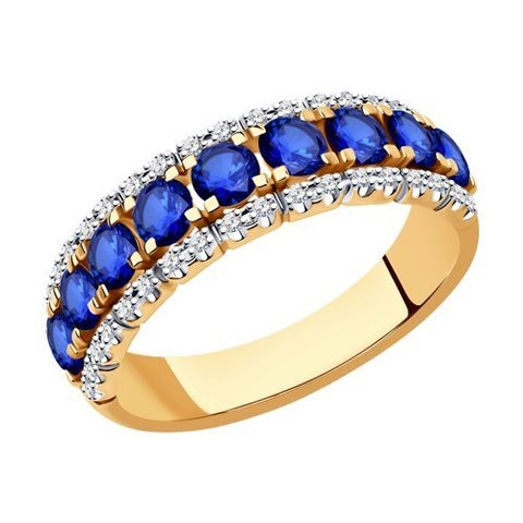 2011215 - Кольцо из золота с бриллиантами и сапфирами