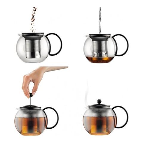 Чайник заварочный с прессом Bodum Assam (1 литр), черный