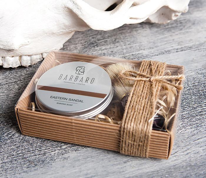 RAZ1015-1 Подарочный набор с мылом для бритья «Barbaro Eastern sandal» и помазком из кабана. фото 03