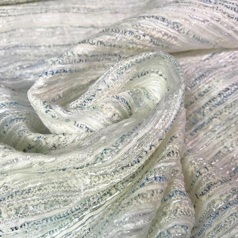 Ткань твид с органзой с голубой нитью 3005